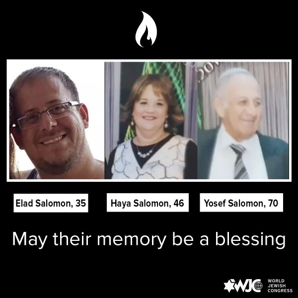 Yosef Salomon (70) and his two grown children were stabbed to death Friday night in their home in the Israeli Halamish settlement of Samaria.