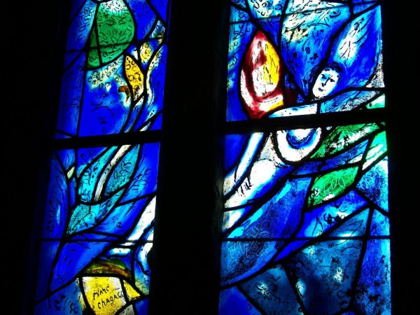 Angel, Marc Chagall, stained glass window, All Saints' Church, Tudeley, England