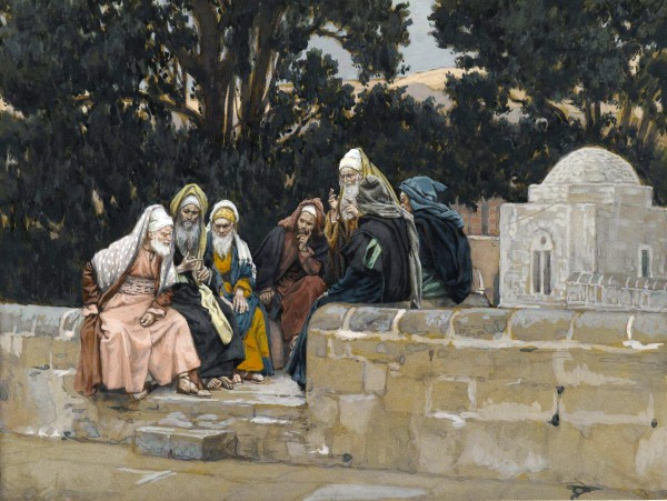 The Pharisees and the Herodians Conspire Against Yeshua, by James Tissot