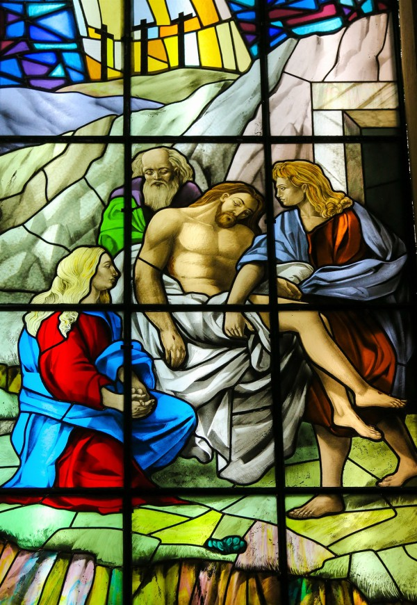 Jesus, stained glass, burial