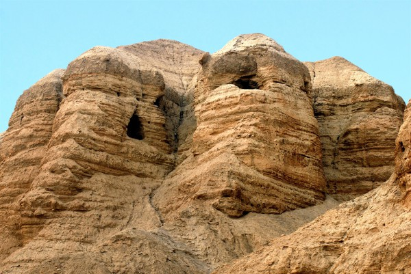 Qumran caves in the Judean Desert, in which the Dead Sea Scrolls have been found in caves