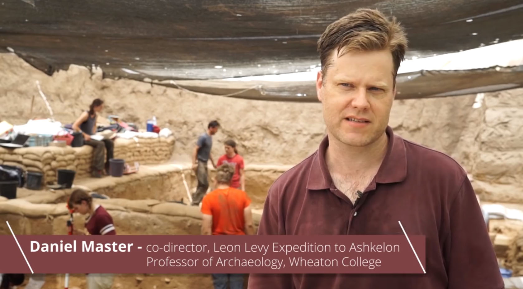 Daniel Master, Professor of Archaeology at Wheaton College co-direct the Leon Levy Expedition to Ashkelon with Lawrence Stager, professor of the Archaelogy of Israel (Emeritus) Harvard University <em>(YouTube Capture)</em>