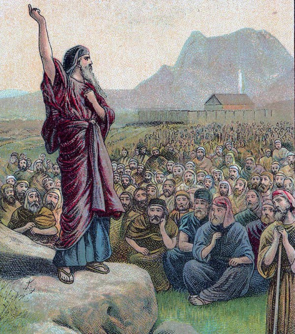 Moses Pleading with Israel, as in Deuteronomy 6:1–15.  Illustration from a Bible card published 1907 by the Providence Lithograph Company (Photo: Public Domain, cropped, retouched)