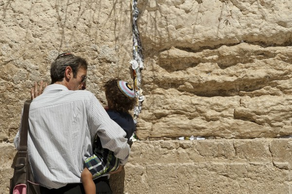 Jewish father, son, western wailing wall, jerusalem