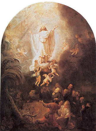 "The Ascension (1636), by Rembrandt.  After appearing to multitudes of people over 40 days, the risen Yeshua (Jesus), ""was taken up before their very eyes."" (Acts 1:9)"