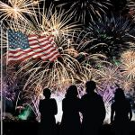 Fireworks, US flag, Israel flag