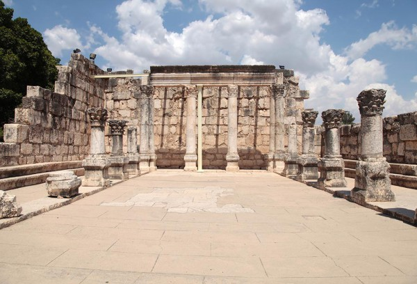 The remains of this ornate 4th century limestone synagogue in Capernaum stands upon a 1st century synagogue, perhaps the one which Yeshua Himself taught in (Mark 1:21).