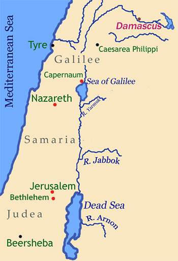 Map: Bethlehem and Jerusalem in Judea; Nazareth and Capernaum in Galilee.