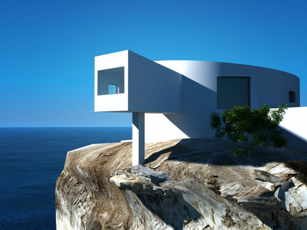 A modern home built atop a cliff.