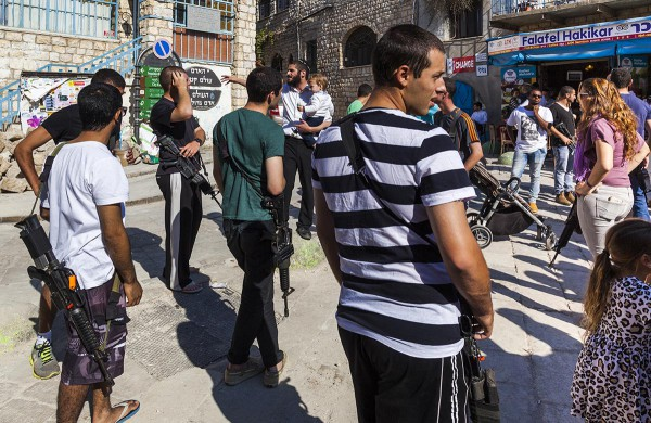Soldiers in Safed, Israel prepare to go home for Shabbat.