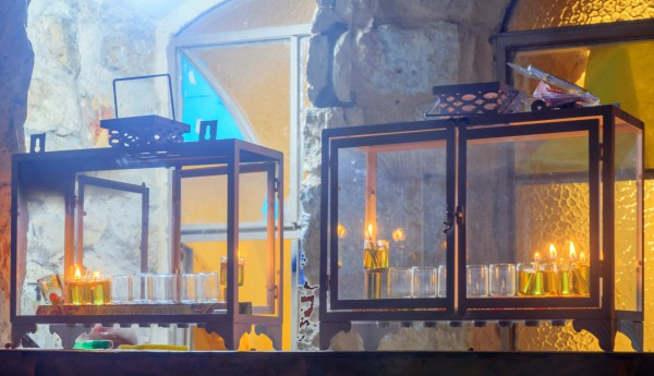 Traditional Hanukkah Menorahs (Hanukkiahs) with oil lamps in the Jewish Quarter of Safed, Israel