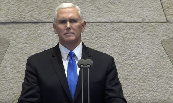 Vice President Mike Pence speaks at the Israeli Knesset January 22, 2018.