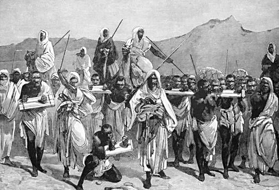 Black slave trade in Sahara, engraving