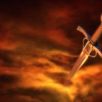 3D illustration of a medieval sword