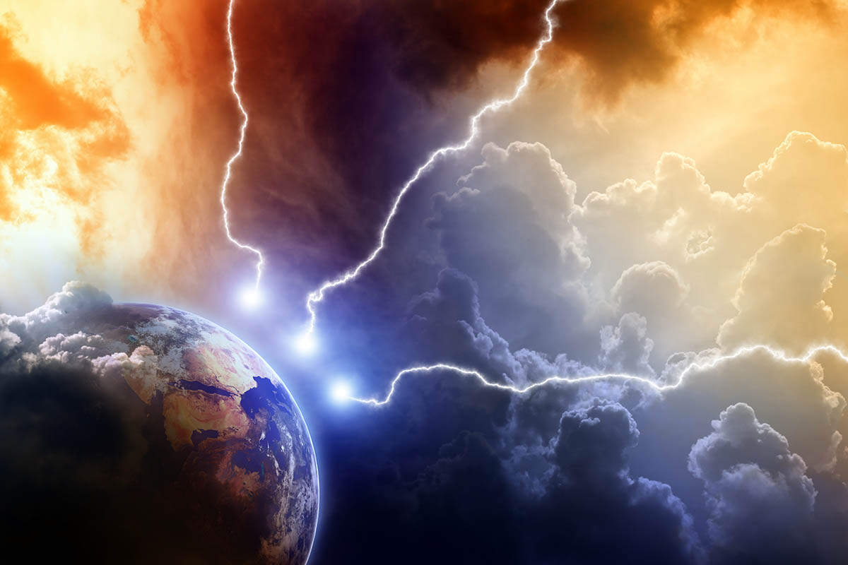 Dramatic image of lightnings striking earth.