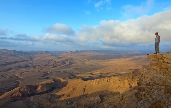 Man overlooking the Negev Desert in Israel