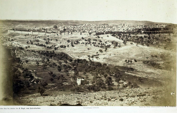 Jerusalem from the northeast (1859–1861), with the Dome of the Rock and Al-Aqsa at the left.  Notice the vacant, unkempt land beyond the Old City walls.