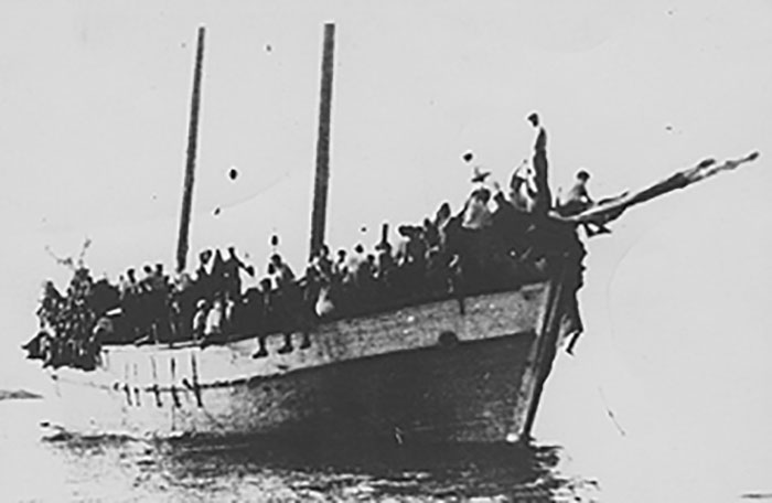 This ship left the port of Tulcea in Romania on March 22, 1939 with about 700 illegal immigrants aboard and landed at an unknown beach in Israel. A British police ship arrived, and one man was shot and killed. (The Clandestine Immigration and Navy Museum, from PikiWiki)