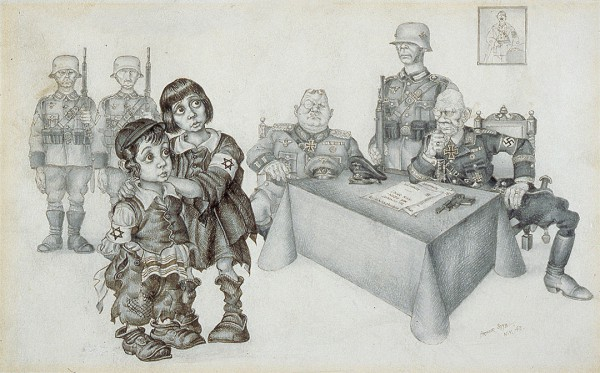 This 1943 illustration by Arthur Szyk tried to spread the truth that innocent Jewish children were being condemned to die by the Nazis.  The drawing first appeared in the PM New York Daily newspaper and later on prints and fundraising stamps for Peter H. Bergson's Emergency Committee to Save the Jewish People of Europe.