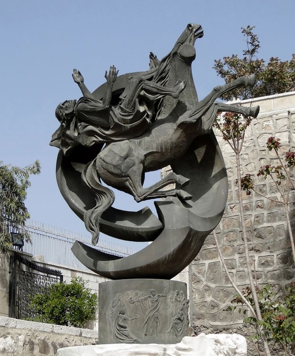 Statue of Saint Paul falling off his horse at the Chapel of St. Paul in Bab Kisan (Kisan Gate), which is one of the eight ancient city-gates of Damascus, Syria. and is said to be the escape route of St Paul.