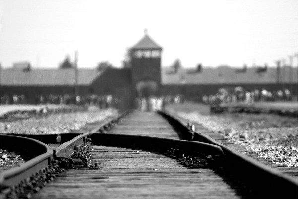 Train track ending at Auschwitz Concentration Camp.
