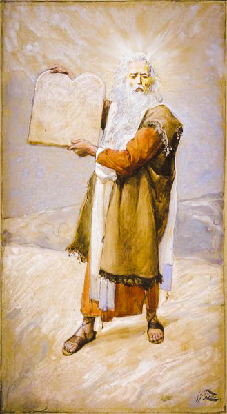 Moses and the Ten Commandments, by James Tissot, depicting Moses with a radiant face (public domain, modified)