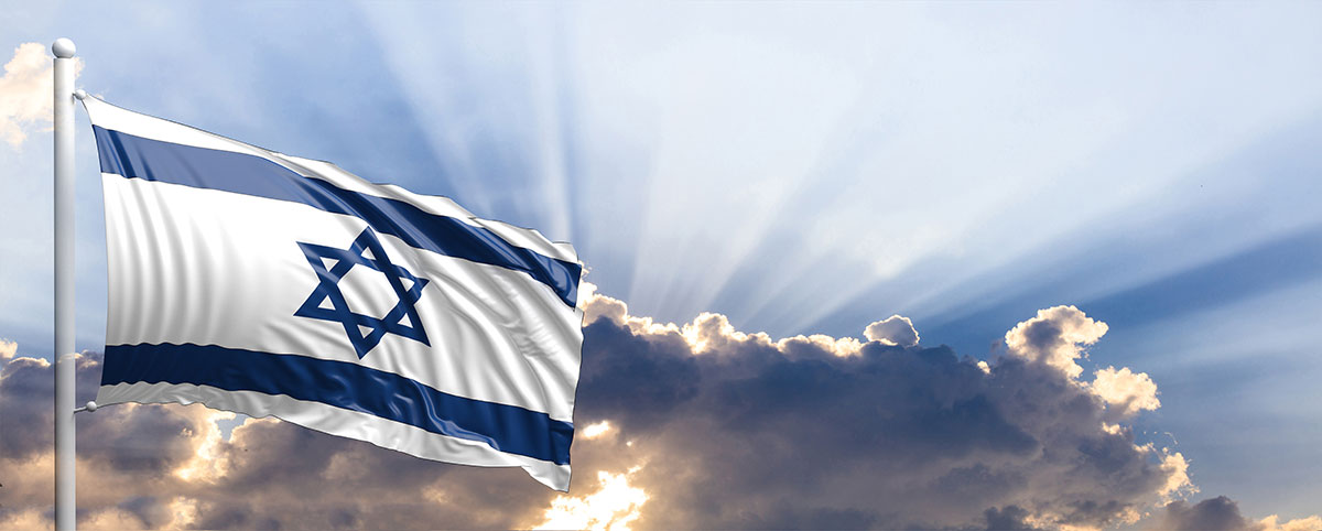 flag of  Israel with clouds