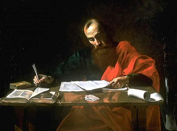 Paul Writing His Epistles (c. 1619), by Valentin de Boulogne.  When the congregation in Antioch read Paul's letter, Scripture says that they rejoiced because of its encouragement / exhortation (paraklesis).  (Acts 15:31)