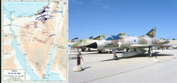 Map of Day 1 infiltration of Israeli Air Force against Egyptian airfields on the Sinai Peninsula using French aircraft, such as the Dassault Mirage fighter jets