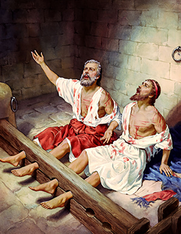 Paul and Silas in Prison painting