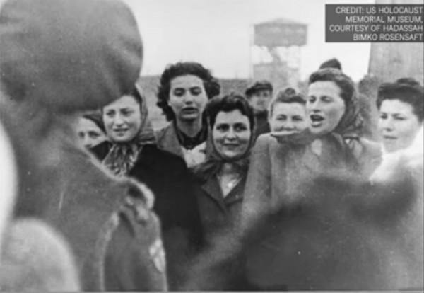 Women survivors of Bergen-Belsen concentration camps.