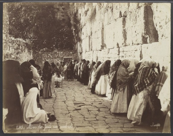 Prayer at the Western (Wailing) Wall in the late 19th century (Photo by Felix Bonfils, Israel National Archives)