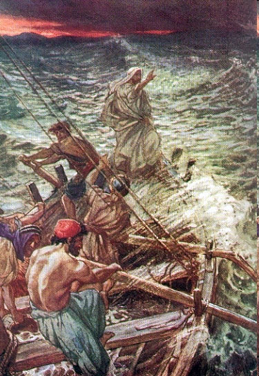 Yeshua Calms the Storm on the Sea of Galilee (1908), by William Hole