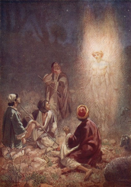 "The angel appears to the shepherds announcing the birth of Yeshua:  ""Do not be afraid; for behold, I bring you good news of great joy that will be for all the people."" (Luke 2:10)"