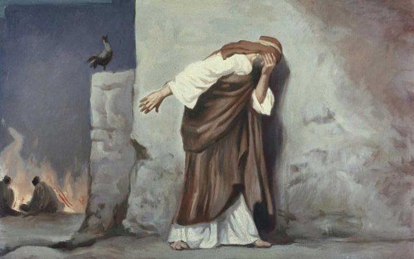 Peter denies Jesus and weeps