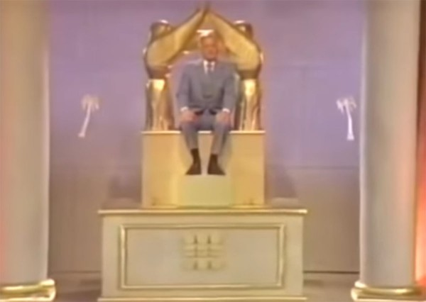 This 1981 movie, Thief in the Night: Image of the Beast, depicts the Antichrist as a man with a computerized attachment sitting on the throne of God.