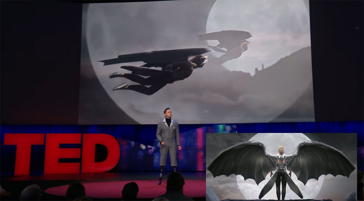 At a recent TED Talk, Hugh Herr showed that a human being could one day be  fitted with bionic wings. (YouTube capture)