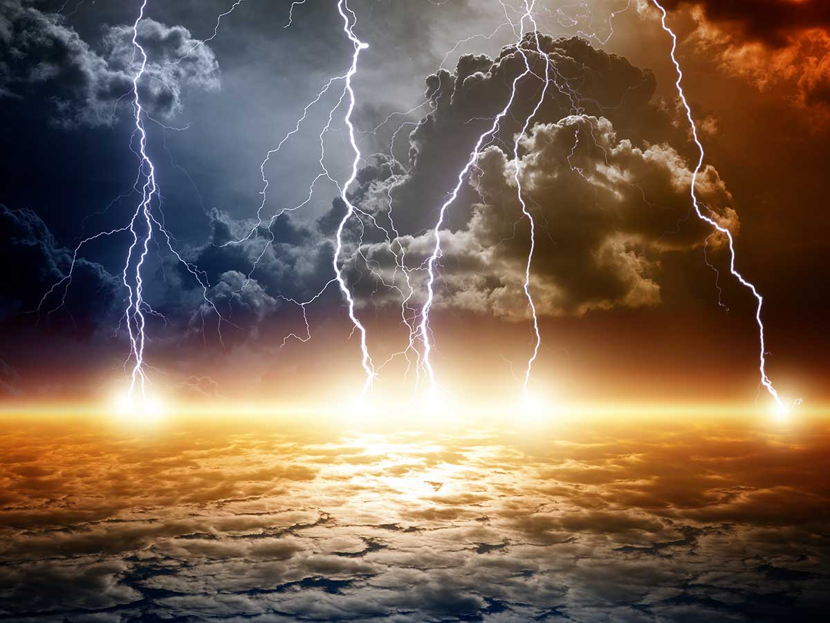 image of lightning bolts striking earth from the heavens