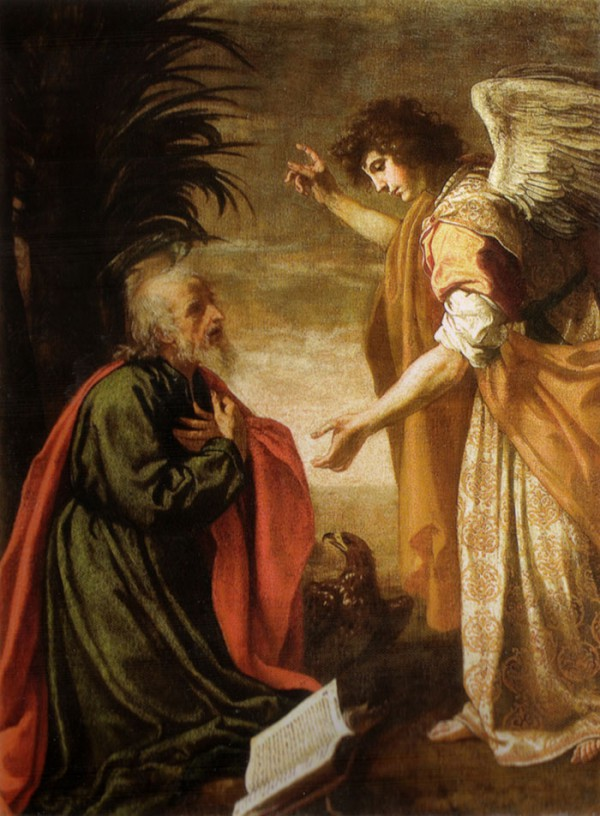<b>John the Evangelist on Patmos</b>, receives revelation from angelic being