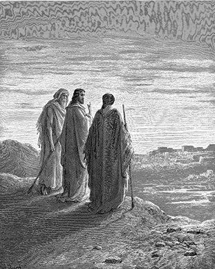 Jesus and the Disciples Going to Emmaus, by Gustave Dore